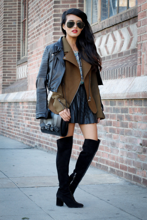 what-do-i-wear:  Capulet Moto Jacket / Club Monaco Silk Blouse / Free People Skirt / Sigerson Morrison Barbella Boots (image: lusttforlife)