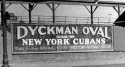 fuckyeahlatinamericanhistory:  The Dyckman Oval in Manhattan's Inwood neighborhood, once home to the New York Cubans baseball team, was demolished in the late 1930s and eventually replaced with a public housing project. The now-defunct New York Cubans would go on to win their one and only Negro Leagues title in 1947, with a team that included many star Cuban-born players, including Claro Duany, Minnie Miñoso, and Luis Tiant, Sr.