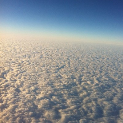 alltheprettyones:  some seriously fluffy cloud action on my flight today. #nofilter #clouds #upintheair #flying  It's like the top of a giant hot chocolate.