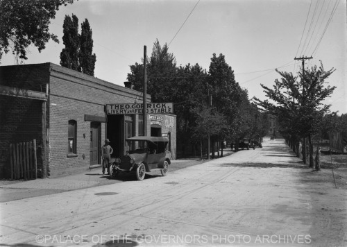 Theodore Corrick Livery Stable and Santa Fe Auto Company Don Gaspar Avenue, Santa Fe, New Mexico - ca 1916 Photo By: T. Harmon Parkhurst Negative #014116