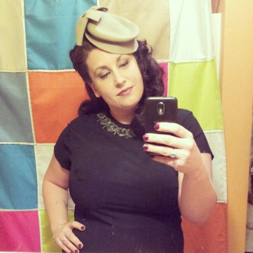Date Night:  40s dress borrowed from the shop, 30s hat from @wildhoneypievintage , ugly ass shower curtain..you can ask the old man (ita garbage soon).