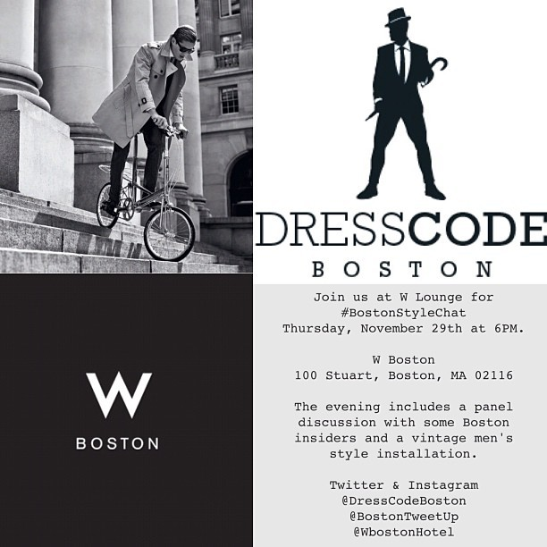 THURS NOV 29th #BostonStyleChat @WbostonHotel feat. vintage men's style installation. Meet us at W Lounge, join the chat on Twitter, and follow the fashion show on Instagram. #menstyle #menswear #boston #bowtie #military #vintage #sports #fashion #dresscodeboston