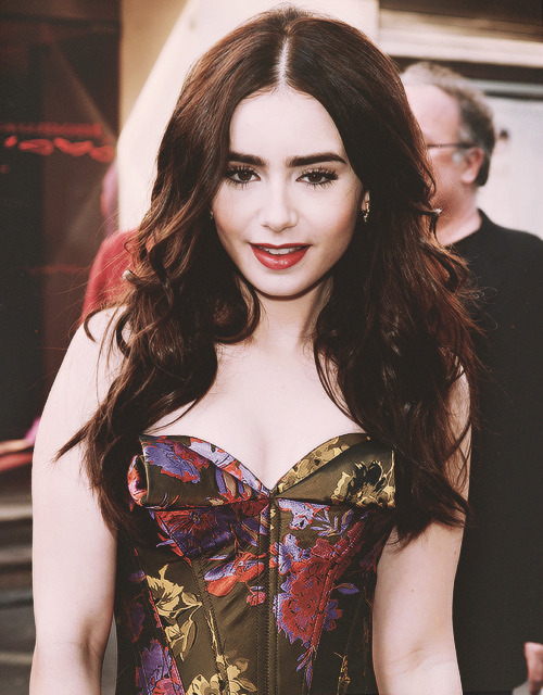 Lily Collins at the French premiere of Snow White