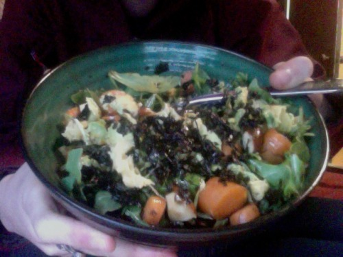 fairy—-land:  last minute lunch:  salad with baby arugula, carrots, avocado, brazil nuts, seasoned seaweed and ground ginger. the sauce is chili oil, soy sauce, sesame oil and rice vinegar.  it's realllly tasty.