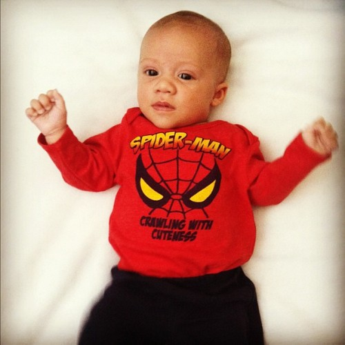 supergirllove:  Noah representing his Uncle @rjdel98 #family #baby #spiderman #comics #nerd