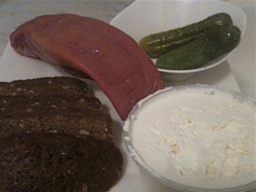 Roncesvalles Snack: smoked beef tongue, Lithuanian dark rye bread, homemade pickles, fresh farmers cheese. Later on… Pierogies!