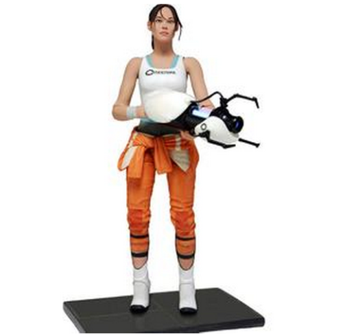 geekymerch:  (via Portal: Action Figure: Chell With Light Up ASHPD Accessory @ ForbiddenPlanet.com)  The protagonist Chell comes highly detailed in her orange Aperture Laboratories Jumpsuit. Chell is fully poseable with over 20 points of articulation and a display base. Articulation includes ball jointed neck, shoulders, torso and wrists along with insert molded ball hinged elbows and knees and more. Even more impressive is her ASHPD accessory which actually lights up and glows blue just like in the game and as seen in the full size ASHPD prop replicas.  Grab this right here!
