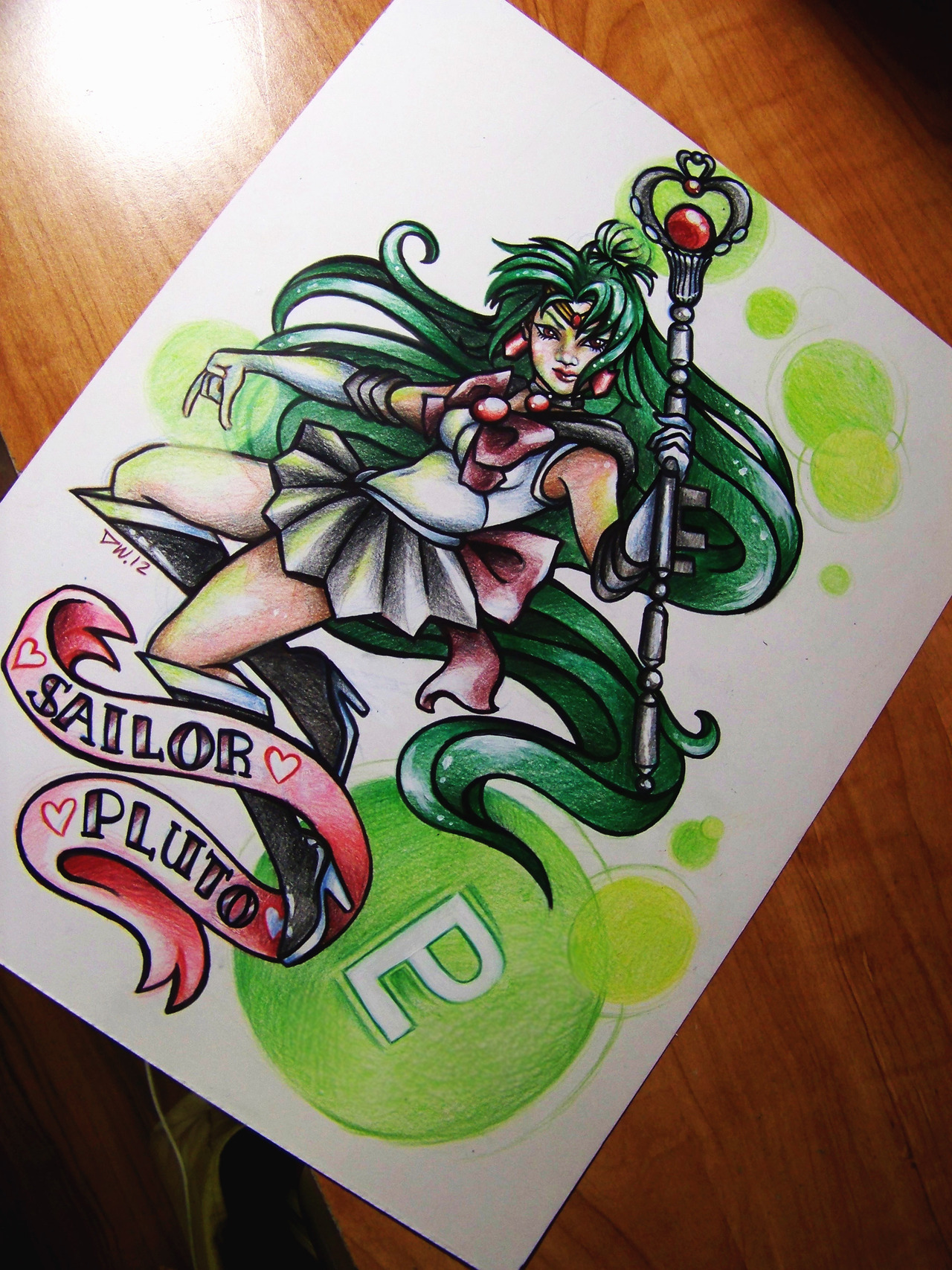 "dannii-chan:  Sailor Pluto by 16shokushu""In the name of Pluto, I will punish you!"" Colored Pencil, ink, acrylic.  ~I've been watching Sailor Moon again and I wanted to draw my favorite Scout.  Also, I just opened up my etsy today and this print is the first thing for sale! You can buy Sailor Pluto here for $15 USD with free shipping!"