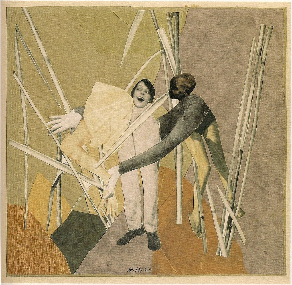 Liebe in busch (Love in the bush) by Hannah Höch, 1925. Photomontage with collage on paper laid down on card, 8 ⅞ by 9 ¼ inches. (via archives-dada)