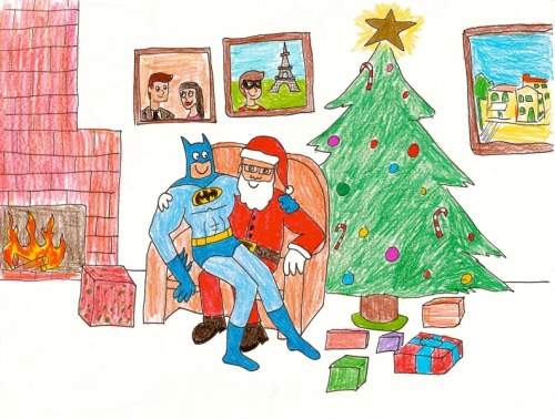 sirmitchell:   happybatman:   sitting on santa's lap   This was my awesome suggestion. I am most pleased.     It's the most wonderful time of the year!