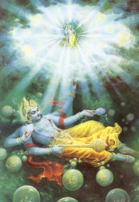 As Maha-Visnu, a plenary expansion of Lord Krsna, inhales and exhales, all the innumerable universes enter into Him and again come forth (BG 7.4)