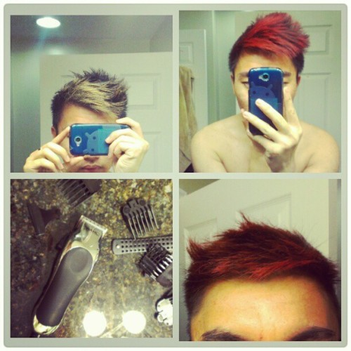 The thing I learn to do on my free time. #hairstyle #red #haircolor #haircut #home #dye #blonde #dirty #fashion #style #hair #cut #new #learn #athome #fashion #design #auburn #truered #rich #HigaPhoto