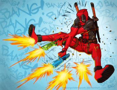 comicbookseverything:  DEADPOOL: BANG! BANG! by ~seniorgoldenspork