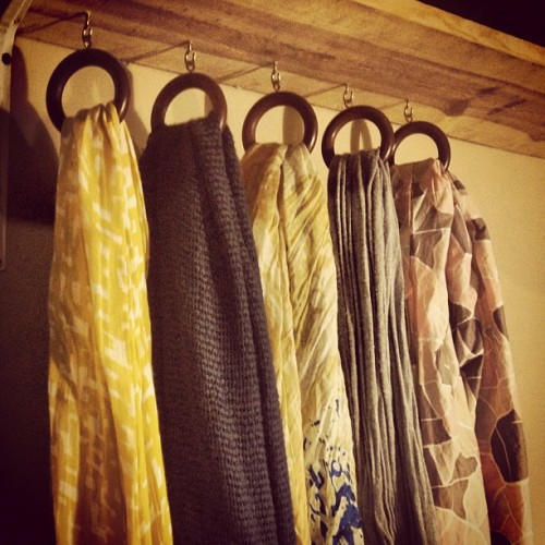 #DIY scarf hanger: shelf, curtain rings, cup hooks