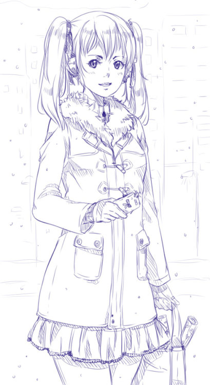 Request doodle. I love those coats that button up like that. Hopefully I'll be able to get one some day!