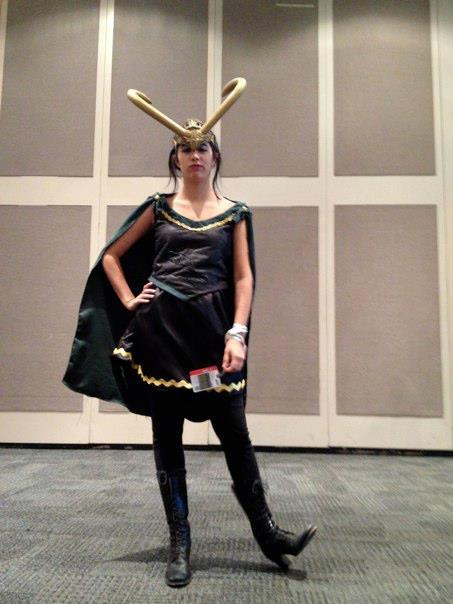gottahavetawrite:  My Loki cosplay at NYCC, taken from a dress design by the incomparable robinade.  Please excuse the terrible hair!  Look how fabulous! Totally rocking the headpiece, and exhibiting general swagger :D