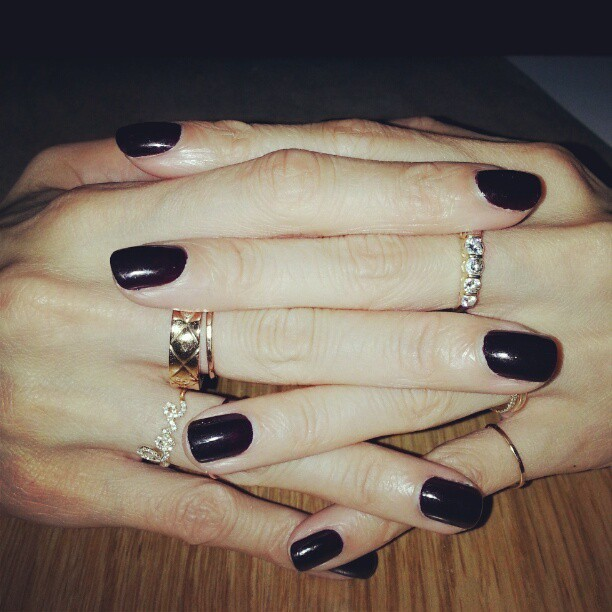 evachen212:  vampy red polish by @jinsoonchoi, rings by @tiffanyandco @chanel @sydneyevan @catbirdnyc