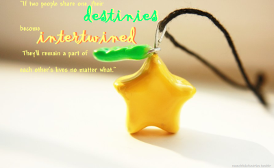 """If two people share one, their destinies become intertwined. They'll remain a part of each other's  l i v e s  no matter what."" -Riku ""Somewhere out there, there's this tree with  star-shaped fruit, and the fruit represents an unbreakable connection. So as long as you and your friends carry ""Good Luck"" charms shaped like it, nothing can ever drive you apart. You'll always find your way back to each other. An unbreakable connection."" -Aqua"