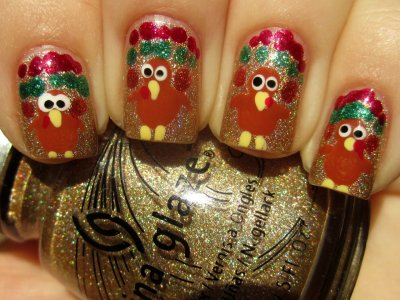 Thanksgiving turkey nails! http://www.doridavis.com/happy-thanksgiving-happy-2nd-anniversary-to-kma/