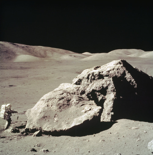 Apollo 17 Astronaut Harrison Schmitt Collects Lunar Rock Samples