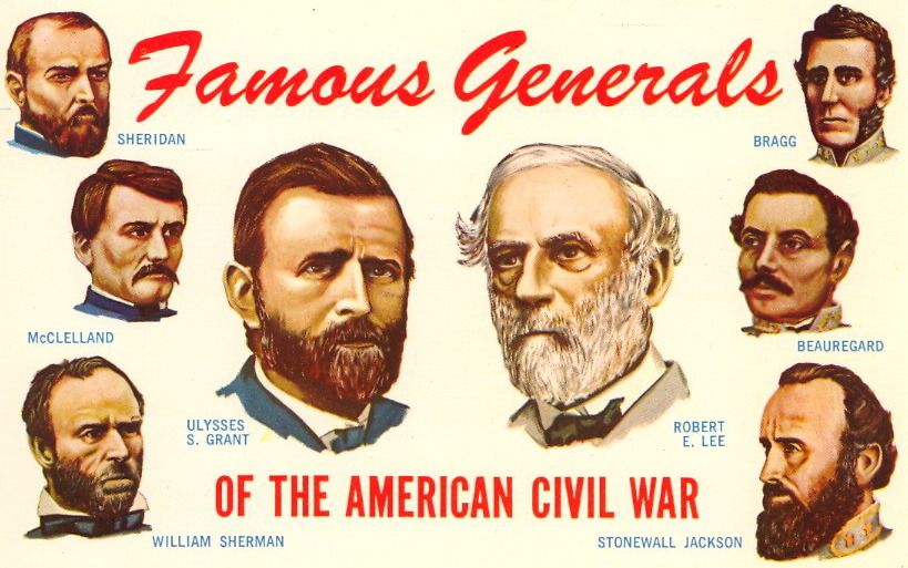 FAMOUS GENERALS OF THE AMERICAN CIVIL WAR Collect 'em all.  These are some of the men made famous by their military leadership in the War Between the States, which was begun with the firing on Fort Sumter, April 12, 1861, and ended with the surrender of the Army of Virginia by General Lee to General Grant at Appomattox, April 9, 1865.