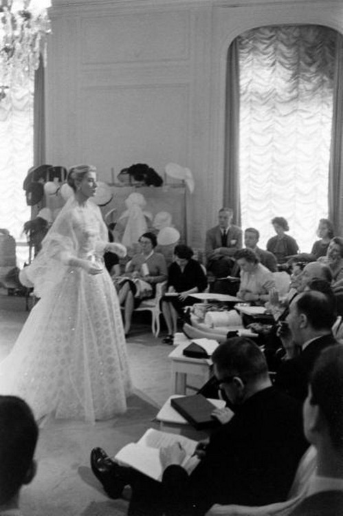 theniftyfifties:  A Dior couture show, 1950s.   This
