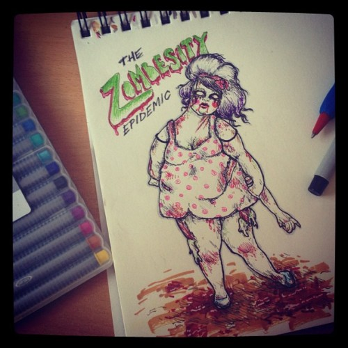 fancybidet:  The Zombesity Epidemic. #drawing