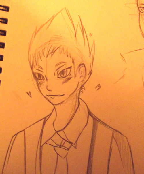 here have cutiepie terumi with dodgy hair i managed to draw him and make it actually look like him.. but he looks ten years younger orz please ignore the hearts i'm a stupid fanboy