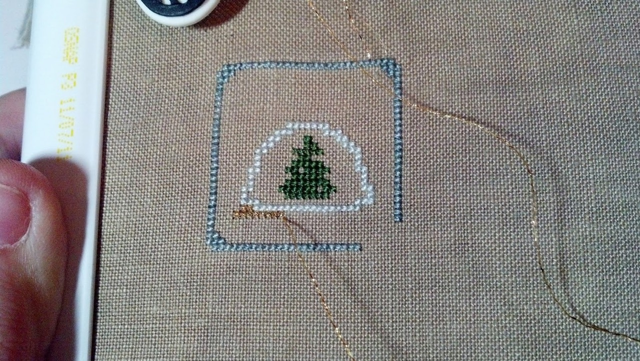 Tonight's stitching project - The Frosted Pumpkin Stitchery's Kawaii Winter Wonderland, converted to my Petite Mulberry handspun silk thread on 45 count linen. I'm using blending filament for the sparkly gold - on 45 count it actually gives decent coverage! :)