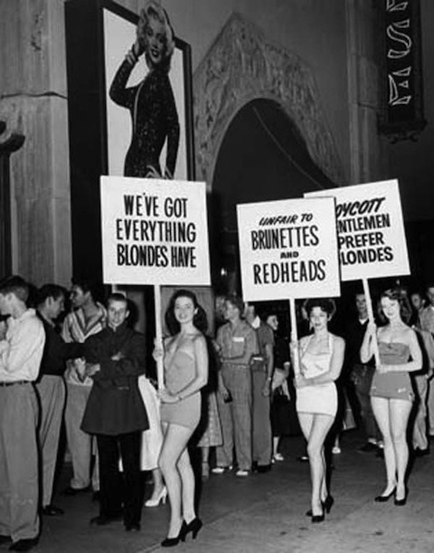"forties-fifties-sixties-love:  in reaction to ""Gentlemen Prefer Blondes,"" 1953"