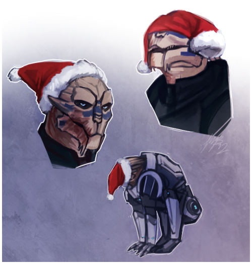 weissidian:  Garrus vs santa hat I always picture dumb things like this in my head  also the bottom one is because when I was little I put a hat on my cat's face and he would just back up and stand really still and yeah I'm so sorry I do these things to you Garrus