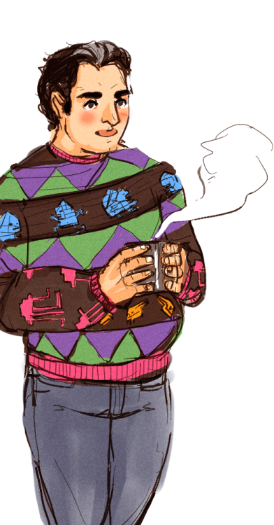 spicyshimmy:  choowy:  criz-zone requested post-thanksgiving kaidan complete with ugly sweater heh  Biotic metabolism. Bound to burn off those extra holiday pounds before Shepard can say 'disingenuous assertions.' Or 'disingenuous insertions,' which happened once, but that's not his fault, since back then he was running on two hours of sleep to more than forty-eight awake. And besides, how was insertions any more chuckle-worthy than a word with 'ass' right there at the start of it? 'Soft place to land, huh?' Shepard asks. 'I can see you eyeing my turians,' Kaidan replies.  * Sweaters. Apparently they're made to be taken off. Something Shepard didn't know, being a simple guy with simple sweaters of his own, but loving's for learning and old dogs can still pick up a few new tricks. Still, the first day Kaidan wears his newest one, Shepard bows his head and leans forward and suggests, in his best turian voice, that maybe Kaidan should leave the sweater on tonight.  'I've had enough of your disingenuous coercion,' Kaidan replies.  'Wrap your hanar around me,' Shepard says. '…Yeah, all right, that sounded weird.' * 'Krogan charge?' Shepard asks. 'We're not playing Urdnot Clan and Thresher Maw again, Shepard,' Kaidan replies. 'Okay,' Shepard says. 'But I'm making that sweater official Normandy gear starting…now.' * Kaidan's still holding the mug of tea when Shepard pushes off the couch, easing out the crick in his neck, stretching his shoulders until they pop. 'Knit me like one of my geometric aliens,' Kaidan says, with a tea-deepened chuckle. His fingers are warm when they touche Shepard's face. The sweater's itchy, pushed up over Kaidan's stomach. The gray in Kaidan's hair matches the steam rising off his cup.  So. This is what cozy means. Shepard hooks his fingers over Kaidan's hips. 'It's a metaphor, right?' Shepard says against Kaidan's cheek. 'About all the races coming together. Uniting a galaxy. Defeating a common enemy. It's wearable art—like one of those krogan wall murals, even. All fleets, reporting in.'  There's no better sweater.  'Permission to land, Shepard,' Kaidan replies.     wah BABIES OMG