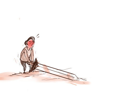 ussevensuprise requested tiny carver trying to lift a swordd