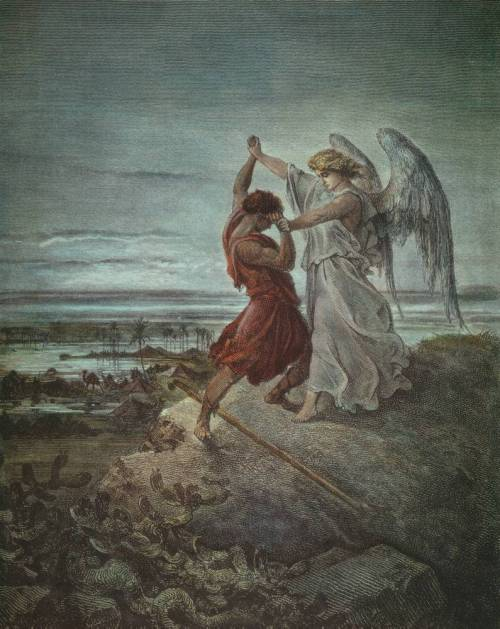 heartmindawakening:  Gustave Doré | Jacob Wrestling with the Angel, (1855)