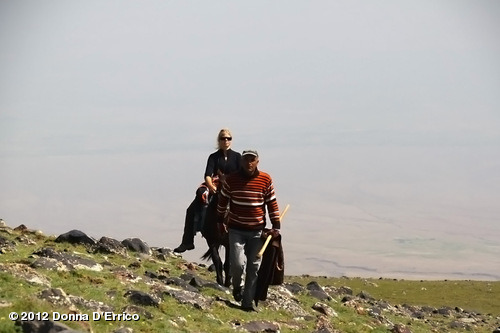 August 2012 Mt. Ararat Expedition: around day 11 on the mountain…my final ascent on this expedition…the air was quite thin at this altitude, and it made me very tired. I traded this Kurdish man $20 USD and my Leatherman to let me ride his horse part of the way up. It was hard not to fall off that horse as we went uphill - there was no saddle, only a blanket..and nothing to hold onto but mane.View more Donna D'Errico on WhoSay
