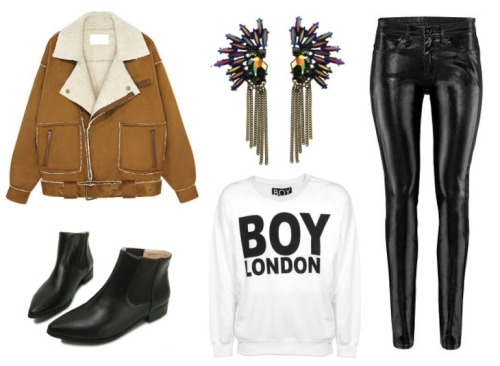 what-do-i-wear:  Boy London sweater, Choies jacket, H&M jeans, Romwe earrings, Oasap shoes (image: connectedtofashion)