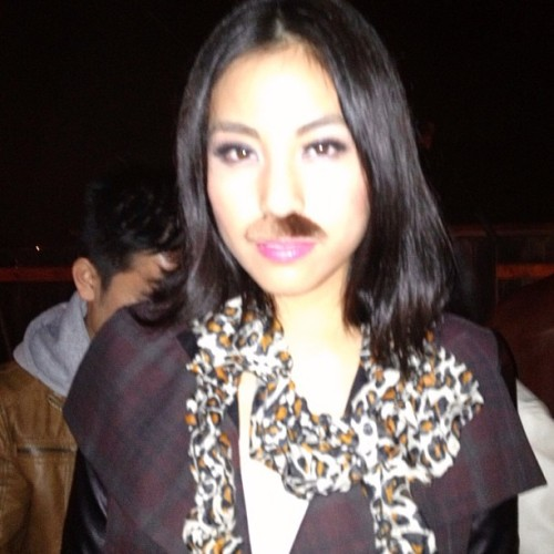 Party two. My #ombre #mustache. #happybirthday Garry! #ootn #leopard #hm scarf