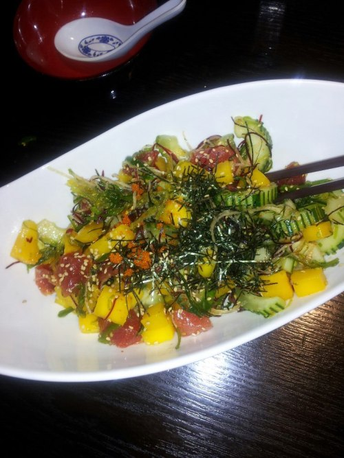fairy—-land:  Lunch a few days ago - Hawaiin Poke Salad. Consisting of mango, raw fish, seaweed, cucumber & spicy sweet vinegar sauce. Sooooo good, and high in iron!
