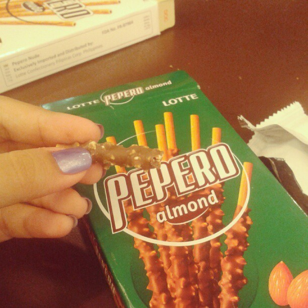 Last bite of my pepero.. -.- I want more.. #pepero #food #instafood  (at SM Center Muntinlupa)