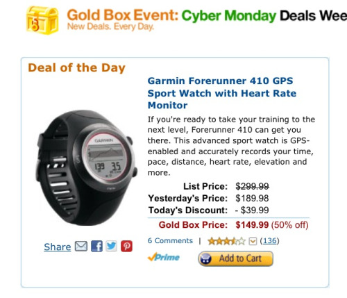pattidoestris:  For anyone interested: Amazon has a Garmin GPS watch for their goldbox sale today.