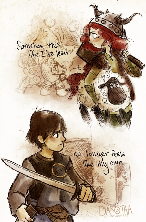 madithefreckled:  Merida the Viking and now Prince Hiccup. I've got ideas in mind for this au but I'm no writer so it likely will never be written into a full-fledged story. So enjoy some random fanart of them having life-swaps.