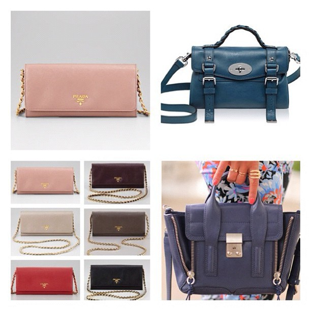 Parda wallet on chain VS. Phillip Lim mini pashli VS. Mulberry mini alexa #vote #bag #prada #31philliplim #mulberry #satchel #fashion