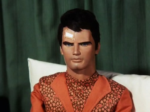Captain Scarlet in his pyjamas via Island of Terror