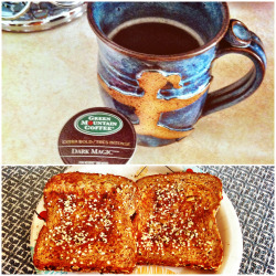 breakfast // black black coffee & genesis toast with vegan butter, organic cinnamon, and hemp hearts. <3