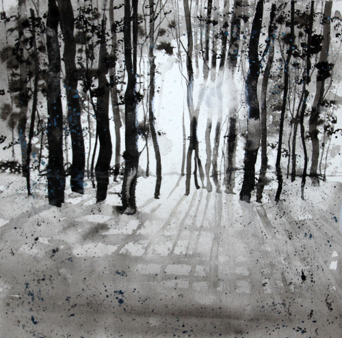 Ink drawing of a familiar subject, winter light through the trees in Blenheim Park – 'Here comes the Sun 2'