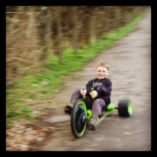 Action shot! #GreenMachine #Trike #kidstoys #cool #Zane #boy #park #fun