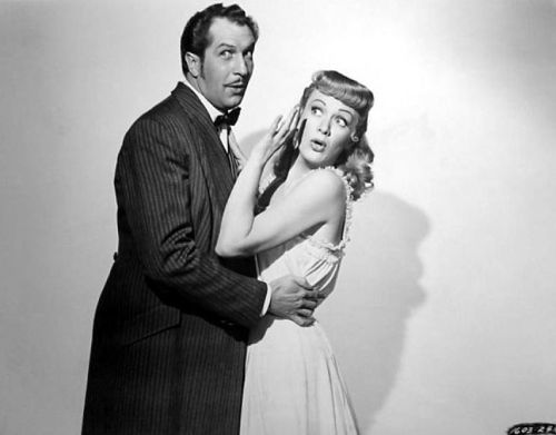 beautyandterrordance:  Vincent Price and Eve Arden, in Curtain Call at Cactus Creek (1950)