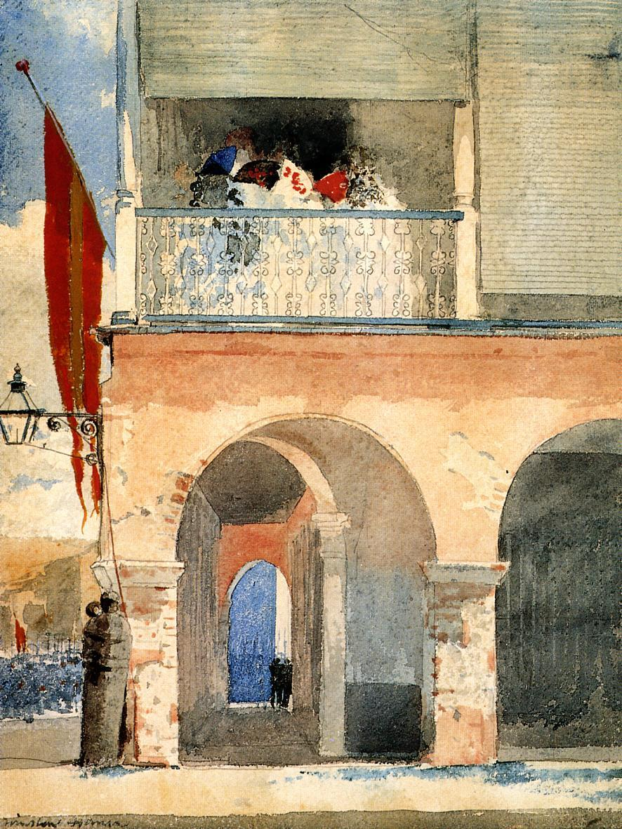 Winslow Homer  |  Customs House, Santiago de Cuba Watercolor, c. 1885