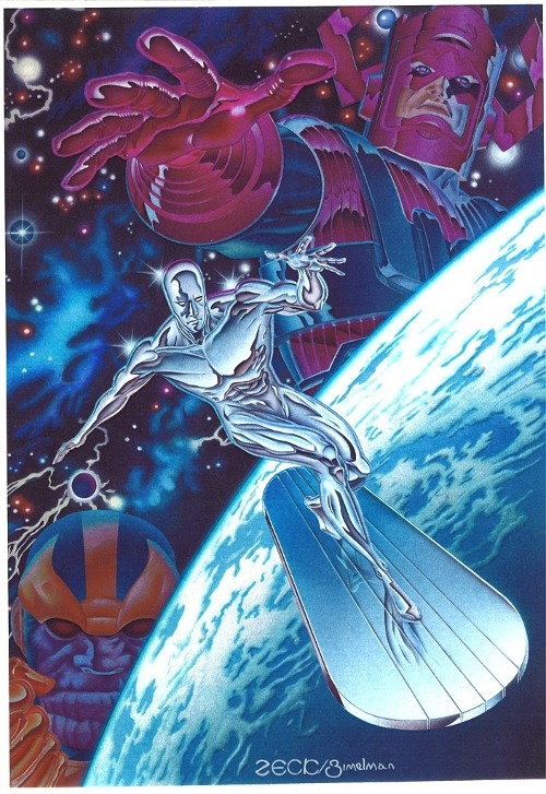 westcoastavengers:  Silver Surfer, Thanos and Galactus by Mike Zeck