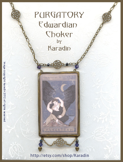 PURGATORY Edwardian Necklace by Karadin A unique, one of a kind statement pendant with artwork created by Karadin featuring Dean Winchester and the angel Castiel in Purgatory. At my etsy shop: http://etsy.com/shop/Karadin